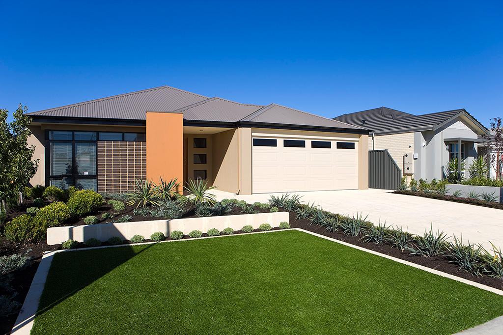 Contemporary home elevation with decorative, orange pillar